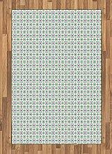 ABAKUHAUS Bunt Teppich, Fliesen mit Blumen,