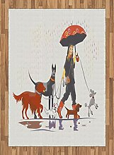 ABAKUHAUS Bunt Teppich, Mädchen mit Hunden im