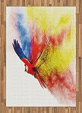 ABAKUHAUS Bunt Teppich, Papagei mit Federn,