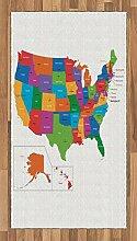Abakuhaus Bunt Teppich, USA Karte mit Staaten,