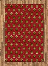 ABAKUHAUS Burgund Teppich, Blumen mit Runden,
