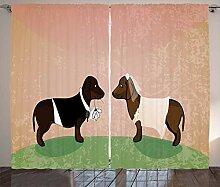 ABAKUHAUS Dackel Rustikaler Vorhang, Cartoon
