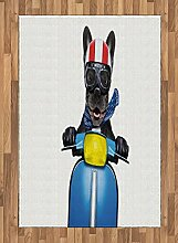 ABAKUHAUS Dog-Treiber Teppich, Bulldog auf einem