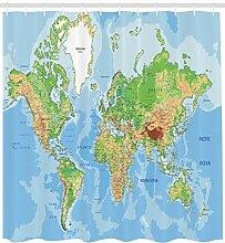 Abakuhaus Duschvorhang, Globale Weltkarte Atlas