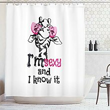 ABAKUHAUS Duschvorhang, Lustiges Giraffe in Rosa