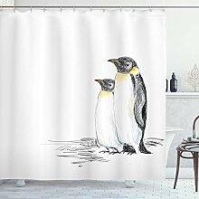ABAKUHAUS Duschvorhang, Zwei Penguins über der