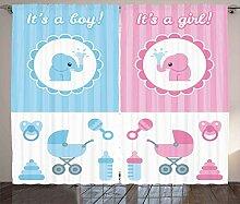 ABAKUHAUS Elefant Rustikaler Vorhang, Mädchen Boy