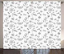 ABAKUHAUS Gekritzel Rustikaler Vorhang, Baby Icons