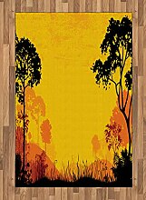 ABAKUHAUS Gelb Schwarz Teppich, Wald bei