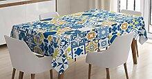 ABAKUHAUS Gelb und Blau Tischdecke, Mosaikfliese,