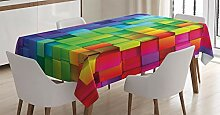 ABAKUHAUS Geometrisch Tischdecke, Regenbogenfarbe,