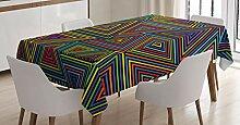 ABAKUHAUS Geometrisch Tischdecke, Regenbogenfarben