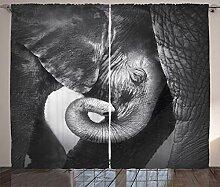 ABAKUHAUS Grau Rustikaler Vorhang, Elefant Mutter