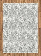 ABAKUHAUS Grau und Weiß Teppich, Chrysantheme,
