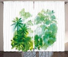 ABAKUHAUS Grün Rustikaler Vorhang, Aquarell Wald