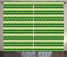ABAKUHAUS Grün Rustikaler Vorhang, Wellenlinien