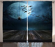 ABAKUHAUS Halloween Rustikaler Vorhang, Seeszene
