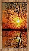 ABAKUHAUS Herbst Teppich, Sonnenuntergang mit