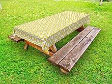ABAKUHAUS Ikat Outdoor-Tischdecke, Gelb Vivid