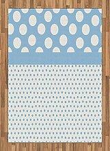 ABAKUHAUS Jahrgang Teppich, Baby-Blaue Tupfen,