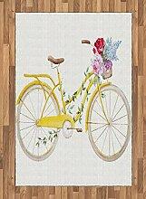ABAKUHAUS Jahrgang Teppich, Fahrrad mit Blumen,