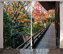 ABAKUHAUS japanisch Rustikaler Vorhang, Holzbalkon