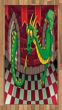 ABAKUHAUS Karikatur Teppich, Burg mit Drachen,