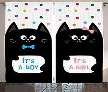 ABAKUHAUS Katze Rustikaler Vorhang, Es ist EIN