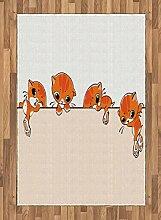 ABAKUHAUS Katze Teppich, Banner mit kleinen