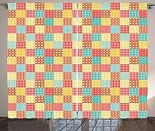 ABAKUHAUS Küche Rustikaler Vorhang, Blumen Punkte