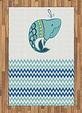 ABAKUHAUS Meer Teppich, Wal mit Zickzack-Muster,