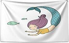 ABAKUHAUS Meerjungfrau Wandteppich und Tagesdecke,