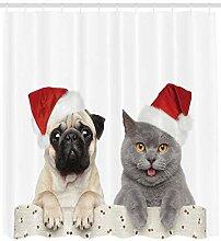 ABAKUHAUS Mops Duschvorhang, Weihnachten Themed