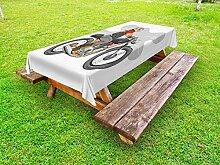 ABAKUHAUS Motorrad Outdoor-Tischdecke, Englisch