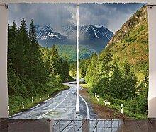 ABAKUHAUS Natur Rustikaler Vorhang, Berglandschaft