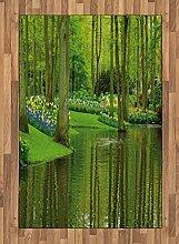 ABAKUHAUS Natur Teppich, Wald mit Botaniksee,