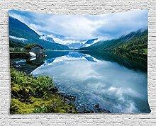 ABAKUHAUS Natur Wandteppich, Holzhütten Norwegen,