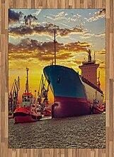 ABAKUHAUS Nautisch Teppich, Großes Schiff bei