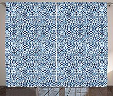 ABAKUHAUS Navy blau Rustikaler Vorhang,