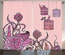 ABAKUHAUS Orange und Rosa Rustikaler Vorhang,