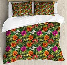 ABAKUHAUS Orchideen Bettbezug Set Doppelbett, Palm