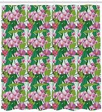 ABAKUHAUS Orchideen Duschvorhang, Rosa Blüten und