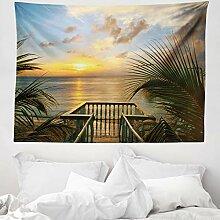 ABAKUHAUS Ozean Wandteppich und Tagesdecke, Palmen