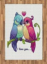 ABAKUHAUS Papagei Teppich, Zweig mit Herzsymbol,