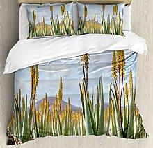 ABAKUHAUS Pflanze Bettbezug Set Doppelbett, Aloe