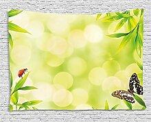 ABAKUHAUS Pflanze Wandteppich, Tiere auf Bambus,