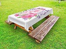 ABAKUHAUS Pink und Weiß Outdoor-Tischdecke,