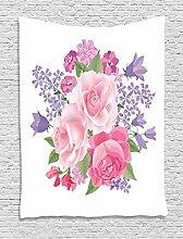 ABAKUHAUS Pink und Weiß Wandteppich,