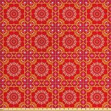 ABAKUHAUS Red Mandala Stoff als Meterware,