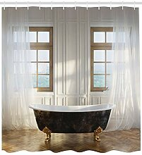 ABAKUHAUS Retro Duschvorhang, Badewanne im